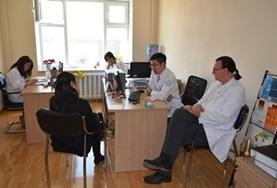 A volunteer observes a consultation conducted by a psychologist in Mongolia.