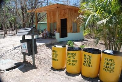 The recycling bins distributed by Projects Abroad volunteers at the Conservation Project in Costa Rica.