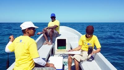 Local scientists collect data at the Diving & Marine Conservation Project in Belize.