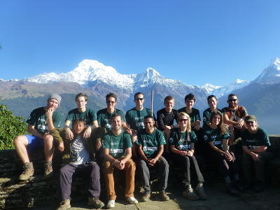 A group of Projects Abroad volunteers at the Himalayan Mountain Conservation Project in Nepal.
