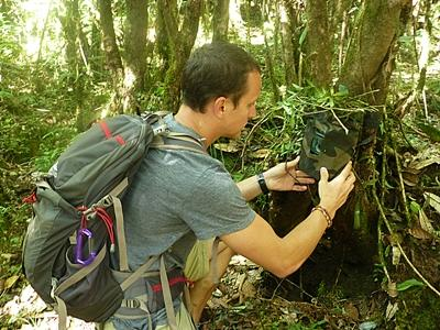 A Projects Abroad volunteers sets up a camera trap against a tree at the Conservation Project in Nepal.