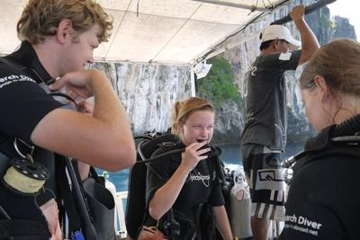 Projects Abroad Conservation volunteers prepare for a dive in Thailand, Southeast Asia.