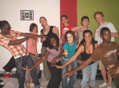 Volunteers participate in a reggae dance class at the Music Project in Jamaica.