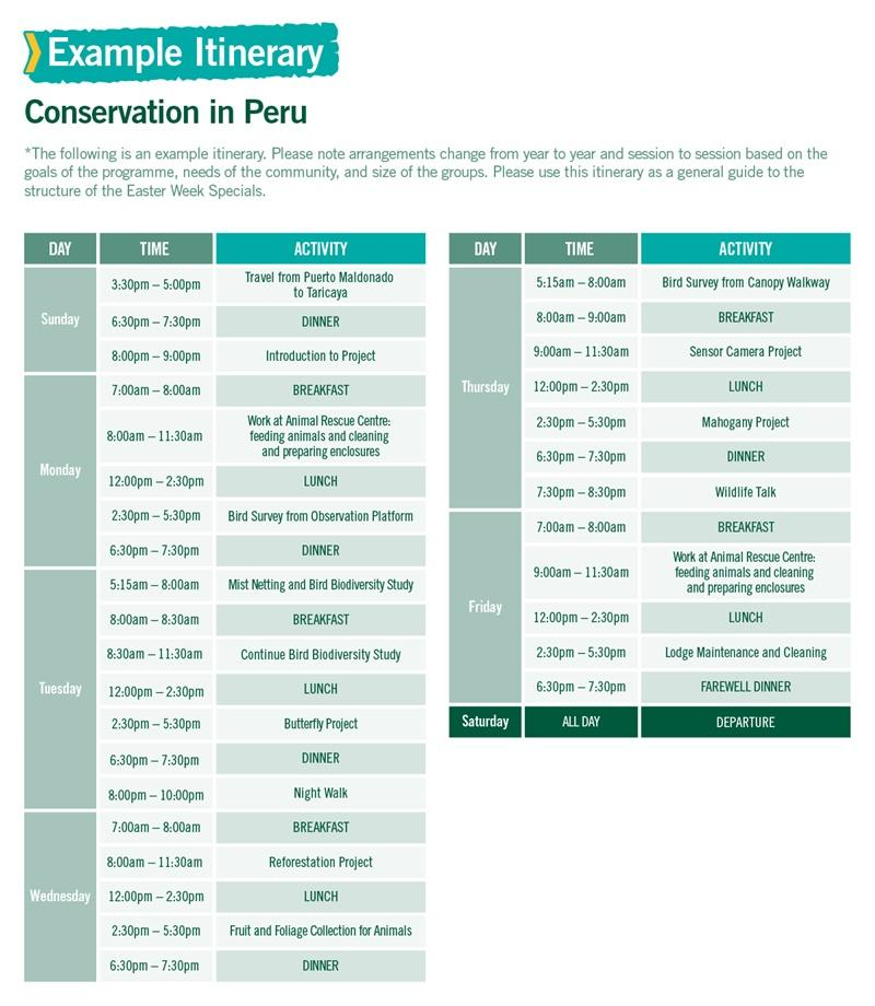 Conservation in Peru Easter Week Special