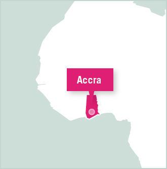 Ghana volunteer placement map