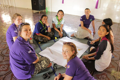 Projects Abroad Care and Community volunteers from Anglia Girl Guides group in the UK run an activity at their placement in Cambodia
