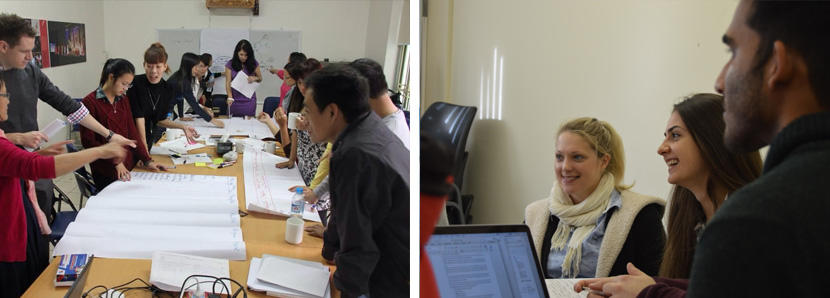 Photos of volunteer groups attending meetings and discussions in Vietnam and South Africa