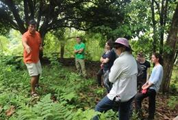 Volunteers on the Grown-Up Conservation & Community Project in Ecuador work alongside a local staff member in the forest.