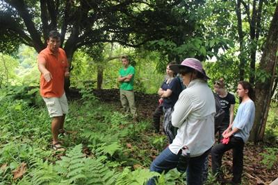 A Projects Abroad staff member teaches volunteers about indigenous plant species in the Galapagos Islands, Ecuador.