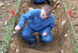 A High School Special volunteer works on her Classical & Medieval Archaeology Project in Romania.