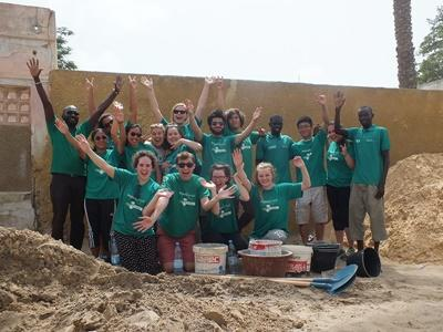 High School Special volunteers at a construction site during their Building Project in Senegal, Africa.
