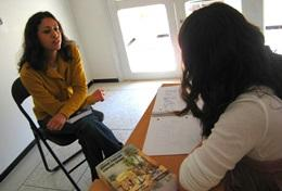 A volunteer in Morocco practices her language skills on her Care & Arabic Project for High School Special students.