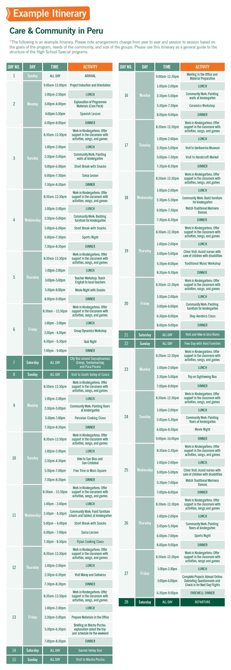 High School Special sample schedule for Care & Community in Peru