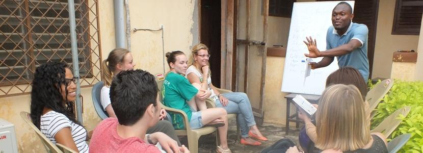 Projects Abroad High School Special volunteers participate in a language class in a developing country.
