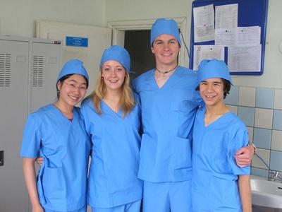 A group of Projects Abroad High School Special volunteers prepare to observe a surgical procedure in Mongolia.