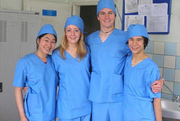 High School Special Medicine volunteers in Mongolia take a photo at their placement.
