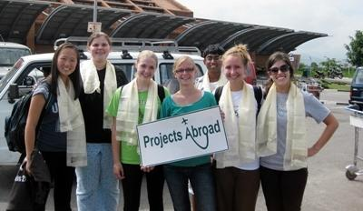 High School Special volunteers are picked up at airport in Kathmandu, Nepal by Projects Abroad staff.