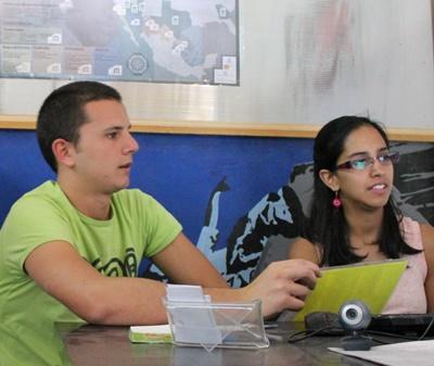 Volunteers do office work on the International Development project in Mexico