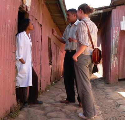 A Journalism intern interviews local people for an article at the Projects Abroad Journalism Project in Ethiopia.