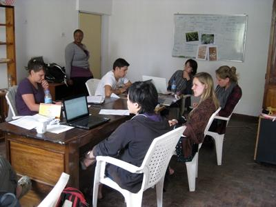 Journalism interns in a meeting in Tanzania with Projects Abroad