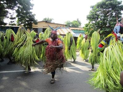 Local people celebrate with dancing during a festival in Togo.