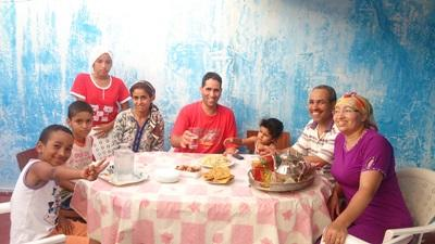 A host family in Morocco, with whom volunteers can practice their French as they learn with a local teacher.