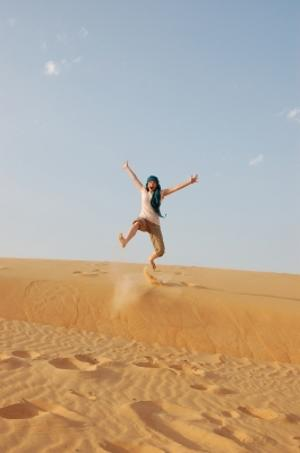 A Projects Abroad volunteer explores the desert in Senegal during his free time at his Language Course.