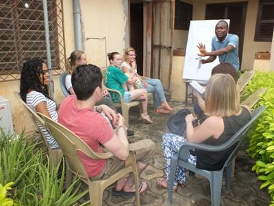 Projects Abroad volunteers spend time learning a local language, Ewe, in Togo, Africa.