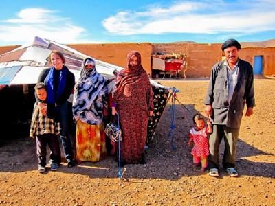 A Projects Abroad volunteer studies Tamazight and practices with her nomad host family in Morocco.