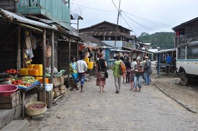 Projects Abroad volunteers explore a village market to practice their Malagasy language skills in Madagascar.