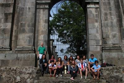A group of volunteers studying Spanish in Costa Rica with Projects Abroad explore a town during leisure time.