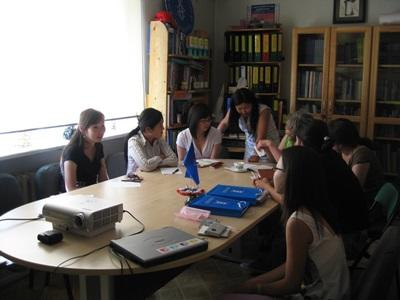 A group of Projects Abroad interns and local staff discuss human Rrghts issues in Mongolia.