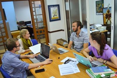 Projects Abroad Human Rights interns in Morocco meet at the office to discuss a new legal case.