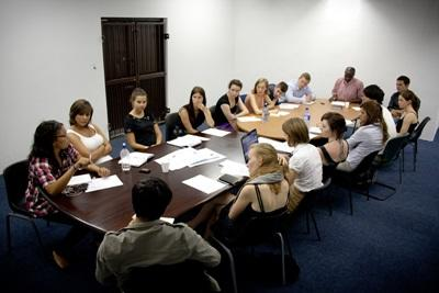 Law students participate in a volunteer project meeting on Human Rights in South Africa