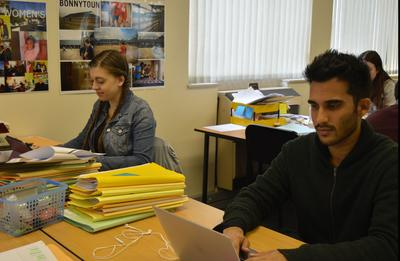 Volunteers work through legal cases in the Projects Abroad Law & Human Rights Office in Cape Town, South Africa