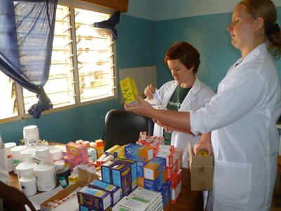 Medical students assist with dispensing medication during an outreach in Morocco.