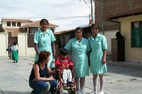 A volunteer with local doctors on the Bolivia Medical School Elective.