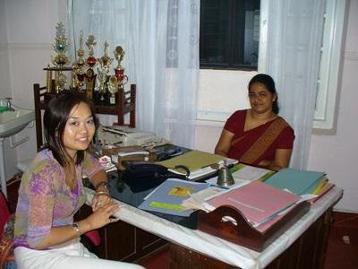 The midwife in charge of Projects Abroad elective students in Sri Lanka in her office.
