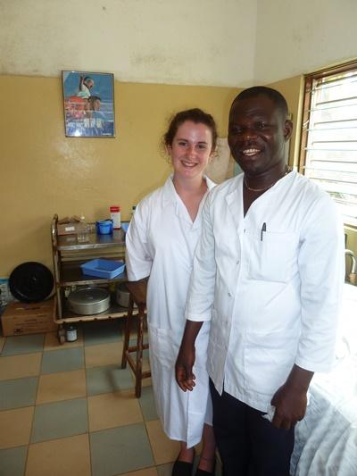 A local doctor and a Projects Abroad Togo intern at a clinic.