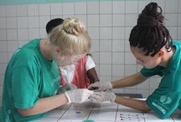 Volunteers on the Pharmacy School Elective in Ghana learn from local pharmacists at a hospital.