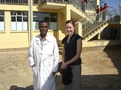 A Projects Abroad medical intern poses for a photograph with an Ethiopian doctor.