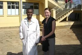 A medical intern in Ethiopia poses with a local doctor during her volunteer project.