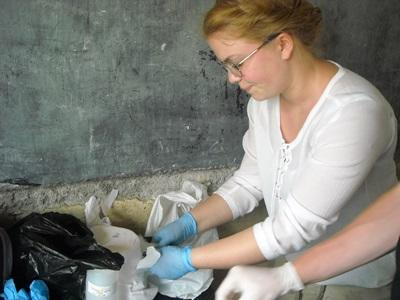 Volunteer working in a clinic on the midwifery project in Togo