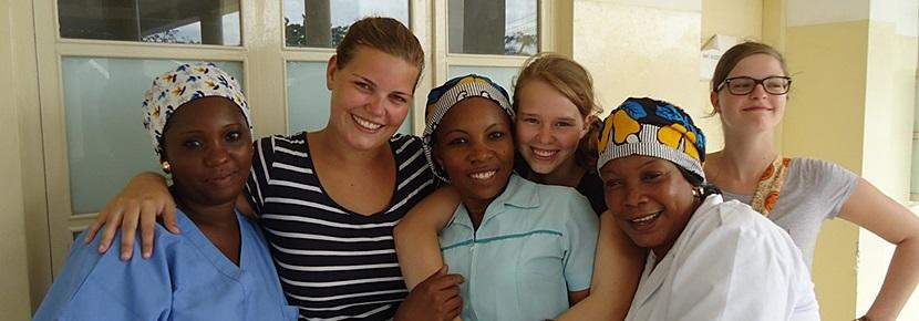 Projects Abroad interns on the Midwifery Project with local midwives in a developing country abroad.