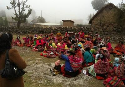 Projects Abroad interns visit a rural community in the mountains of Peru to educate them about healthy eating habits.