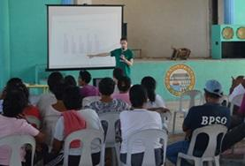 A student volunteer on the Philippines Occupational Therapy Internship gives a presentation.