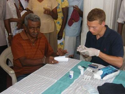 A Physiotherapy intern participates in a medical outreach as part of his internship in Sri Lanka.