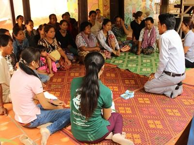 Projects Abroad Microfinance interns and staff run a training session for entrepeneurs in Phnom Penh, Cambodia.