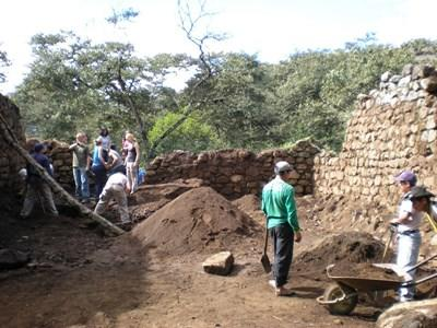 Volunteers excavate a site at the Wari & Incan Archaeology Project in Peru.