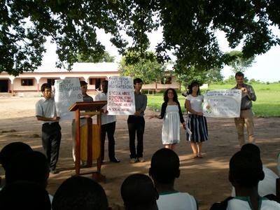 Lawyers and Projects Abroad interns talk to local communities about their rights in Ghana.